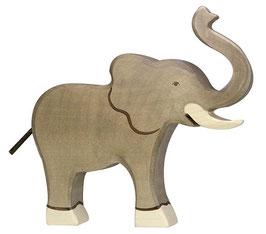 Grand éléphant trompe haute en bois Holztiger