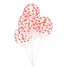 5 ballons transparents imprimés pois rouges my little day