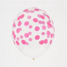 5 ballons transparents imprimés pois fuchsias my little day