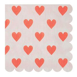 20 Serviettes en papier Coeurs Meri Meri