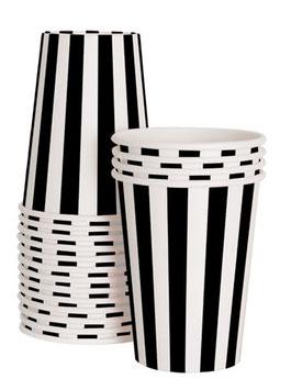 12 gobelets rayés noirs et blancs