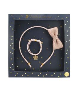 Coffret serre tête Liberty rose noeud paillettes rose doré et bracelet Liberty rose