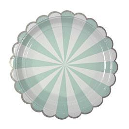 8 grandes assiettes en carton rayures vert menthe et blanc meri meri