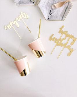 8 gobelets roses avec triangle doré