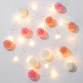 Guirlande Lumineuse Leds 12 Pompons Roses,Blancs, Pêche