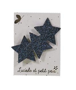 Barrette pince 3 étoiles bleu nuit