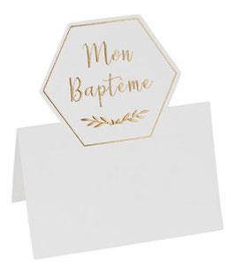 10 Marque Places Mon Baptême Ivoire et Or