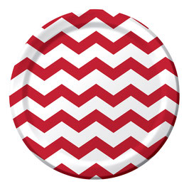 8 assiettes en carton chevron rouge foncé et blanc