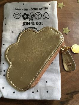 Petit porte monnaie nuage en cuir doré