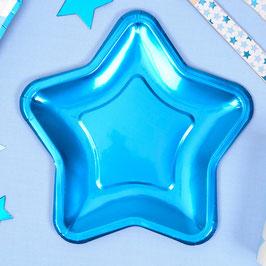 8 Petites Assiettes Etoiles Bleues