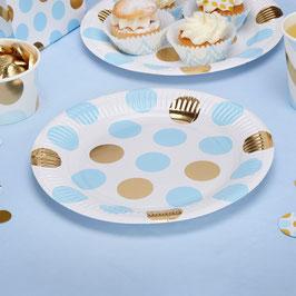 8 assiettes pois dorés et bleu ciel