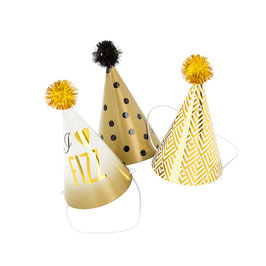 6 chapeaux pointus avec pompons pour fête