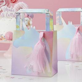 5 sacs cadeaux invités licorne irisée avec tassel rose