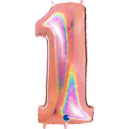 Ballon chiffre géant rose gold holographique