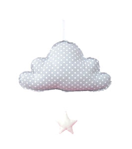 Mobile musical nuage fond gris pois blanc Alimrose