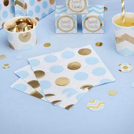 16 serviettes pois dorés et bleu ciel