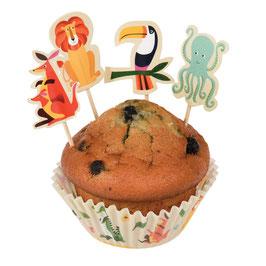 kit cupcakes avec piques gateaux animaux de la jungle