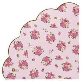 20 serviettes fleurs vintage bord arrondi