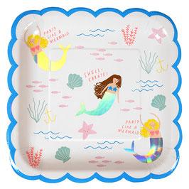 8 grandes assiettes pour anniversaire sirène Meri Meri