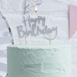 """Bougie """"Happy Birthday"""" écriture argent pour gateau anniversaire"""
