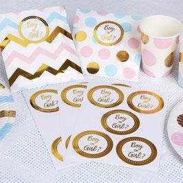 25 stickers dorés écriture Boy or Girl