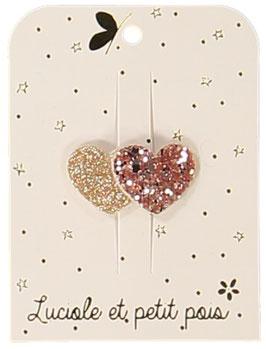 Petite Barrette Clip 2 Coeurs Rose Gold et Or