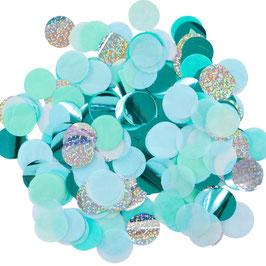 Confettis de table bleus, vert menthe, irisés