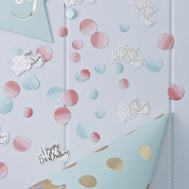 Confettis Happy Birthday et confettis pastels