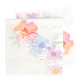 20 grandes serviettes avec fleurs pastels