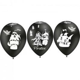 6 ballons en latex noirs avec dessins bateaux Pirates