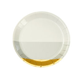 8 mini assiettes pour petits fours dorées et grises