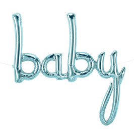 """Ballon métallique bleu ciel écriture """"baby"""""""