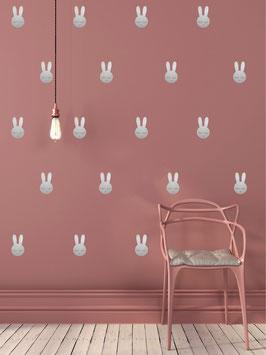 Stickers muraux lapins argent Pom le bonhomme