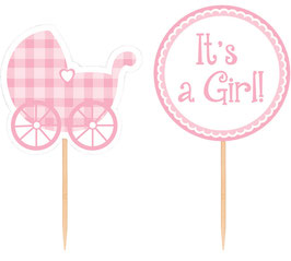 12 Cake Toppers Baby Shower It's a Girl