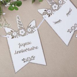 """Guirlande fanions licorne dorée écriture """"Joyeux anniversaire"""""""