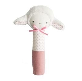 Hochet agneau Betty pois vieux rose Alimrose