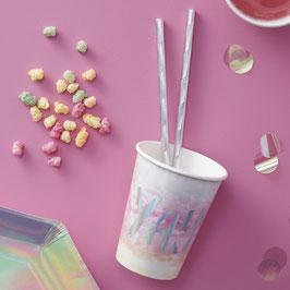 """8 gobelets dégradés pastels avec écriture """"Yay"""" irisée"""