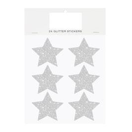 24 autocollants étoiles pailletées argent