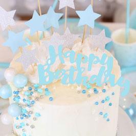Décoration gateau Happy Birthday bleu
