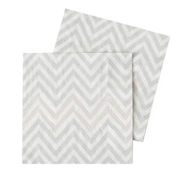20 petits serviettes chevron gris clair et argent brillant