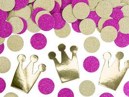Confettis Couronnes,Pois Dorés et Fuchsias