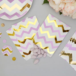 25 sachets en papier avec chevrons parmes et dorés