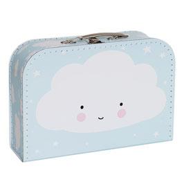 Valise en carton fond bleu ciel avec nuages A little lovely company