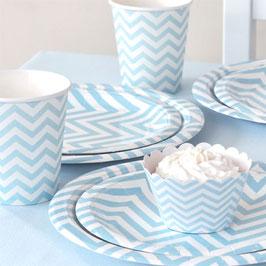 12 petites assiettes blanches chevrons bleu ciel