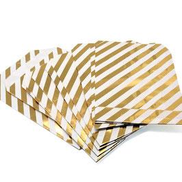 10 pochettes en papier blanc avec rayures dorées en diagonale