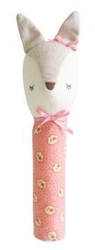 Hochet droit Biche avec tissu fleurs et lin Alimrose