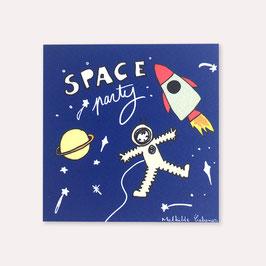 6 invitations anniversaire astronaute avec 6 enveloppes blanches , Mathilde Cabanas
