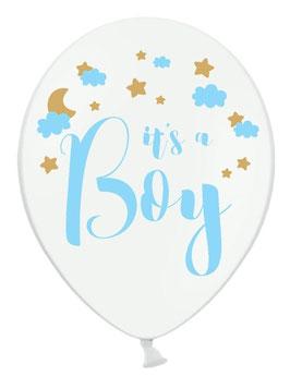 6 Ballons Blancs It's a Boy bleu et doré