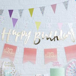 """Guirlande décorative dorée écriture """"Happy birthday"""""""