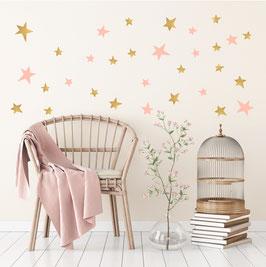 Stickers muraux étoiles roses et or Pom le bonhomme
